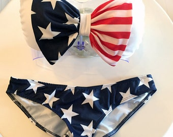 4th of July Swimsuit - Bandeau Top (removable straps optional) - Made in USA