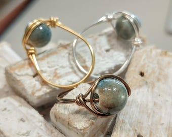 HOT for Summer! Teal Polished Stone Ring