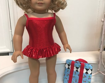 American made Suncatcher Swimsuit/ bag and sandals made  to fit 18 inch dolls such as American Girl