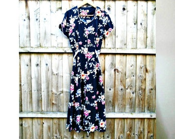 Vintage Dress - Floral Tea Dress - Calf Length Dress - Summer - Festival