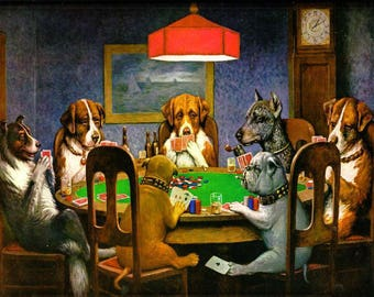 Poker Wall Art, Dogs Playing Poker, A Friend in Need, Oil  Painting Reproduction in Museum Quality