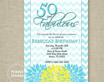 50th Birthday Invitation 50 and Fabulous Aqua Blue and Yellow Flower Burst Feminine Adult Party Invite Printable JPG File Invite (61)