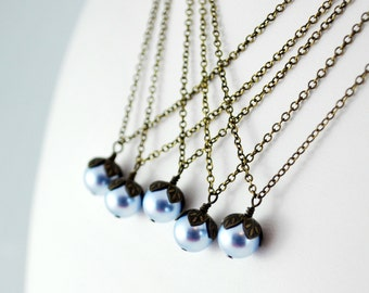 Pearl Bridesmaid Necklace, Genuine Swarovski Light Blue, Woodland Wedding, Antiqued Brass Jewelry