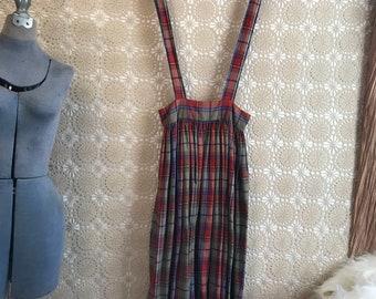 CUTE Vintage dress 80s PLAID overall skirt romper pinafore jumper