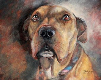 CUSTOM pet portrait acrylic on canvas - custom dog portrait - ONE pet - N-Ts