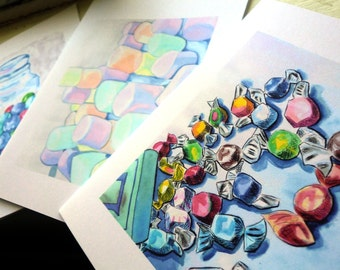 Candy Cards  - Blank Notecards - Candy Watercolor Art Notecards (Ed. 3), Set of 8 - Tootsie Roll, Taffy, Marshmallows, Gumballs