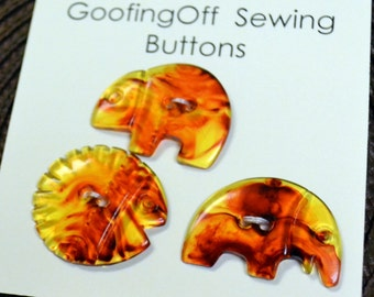 Animal Shaped Buttons Set of Three Amber Color