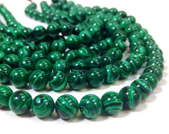 A Grade Malachite 4, 6, 8, 10 and 12 mm Smooth Round Beads 15.5 Inch Strand - Reconstituted (MJW810152525-MS-BH8M)