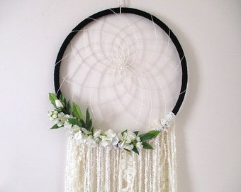 Large Earthy Doily Dream Catcher with Flowers, Ribbon and Yarn