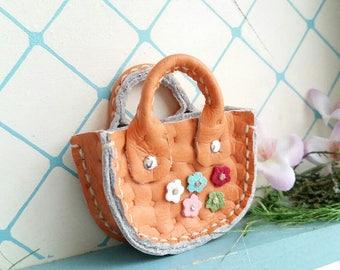 Mini Honey Orange Leather Fashion Heart Flower Doll Hand Bag For Azone Pure Neemo Pukifee Lati Neo Blythe HandMade