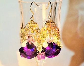 Amethyst Chandelier Earrings, Multi Color Chandelier Earrings, Purple Chandelier Earrings