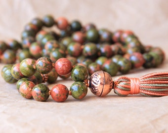Buddhist Mala Prayer Beads, Japa Mala 108, Meditation Beads, Unakite For Recovery, Spiritual and Psychological Growth