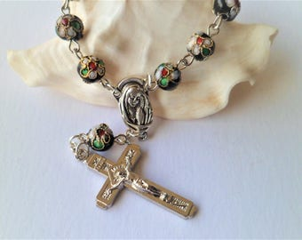 Rosary decade car Cloisone with Virgin Mary and Jesus Crucifix cross Rosary Center clasp engraved Fatima