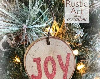 RED Joy Rustic Ornament | Reclaimed Wood Christmas Ornament | Hostess Gift