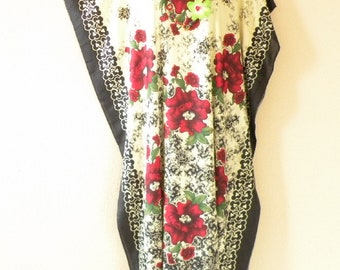 Splendor Path Batik Dolman Batwing Sheen Caftan Kaftan Tunic Hippy Maxi Dress - S, M, L & XL