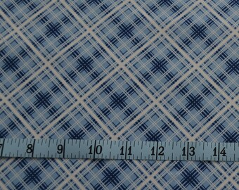 Hi De Ho Fabric - Blue Plaid Fabric, Blue and White Squares - Quilting Fabric - By The Yard - Cotton Yardage - Fat Quarter, Half Yard