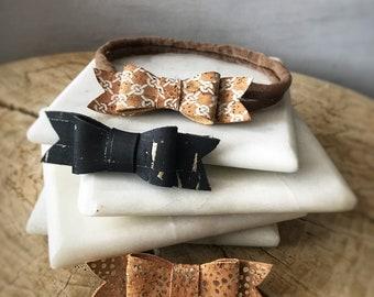Fancy Cork Leather Baby Bow (vegan friendly, eco friendly, leather alternative)