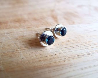 London Blue Topaz and Sterling Silver Stud Earrings. Handmade.