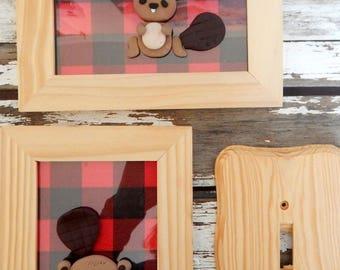 Trio frames-switch plate, Beaver, child's frame, nursery decor girl, boy, baby nursery, cottage decor room