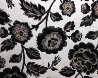 Black/White Floral Upholstery Fabric, Sewing, Home Decor