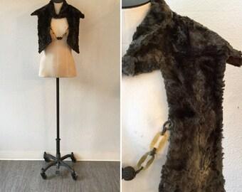 Daphne fur shrug   Vintage sheered lamb shrug   1930s grey lamb fur shrug