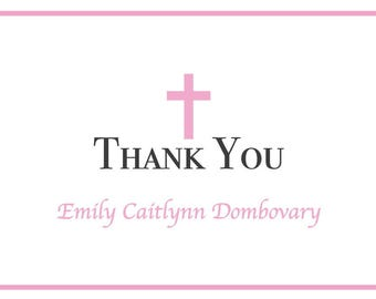 Baptism Thank You Cards Custom - Girl, Christening, Dedication, Confirmation - Appreciation Card