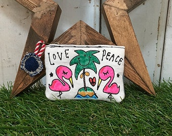 Flamingo & Palm Tree embroidery coin case (pouch)