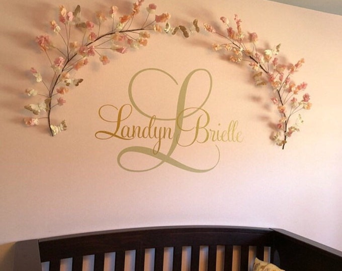 Girls Name Decal-Personalized Wall Decal-Girls Nursery Decal-Vinyl Wall Decor-Girls Bedroom Decor-Fancy Name and Initial Wall Monogram Decal
