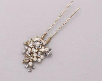 Swarovski crystal pearl gold wedding hair pin, bridal hair accessories, pearl rhinestone hairpin, bridal hair pearl, Celine Gold Hairpin