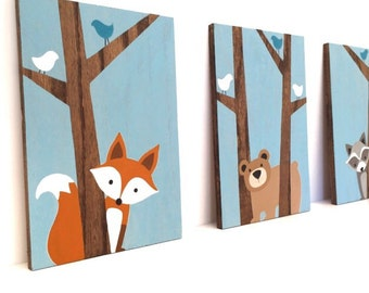 Woodland Nursery Art - Nursery Wall Art - Fox Decor - Forest Friends Nursery - Woodland Animals Nursery - Wood Signs - Woodland Creatures