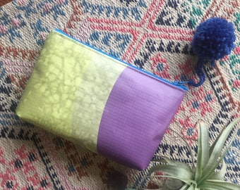 Purple and Yellow-Green Vinyl Zipper Pouch