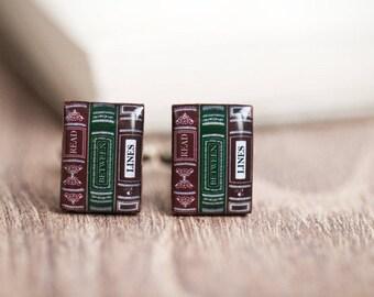 Book cufflinks, Teacher cufflinks, Bookworm gift, Nerd cufflinks, Gift for reader, Gift for book lovers, Nerd wedding Book worm gift for him