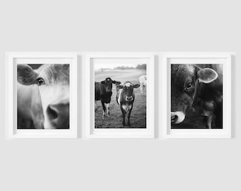 Farm animals set - Cow photography print collection- Country wall decor - Rich earth colors - French country art - Shabby chic - Nursery art