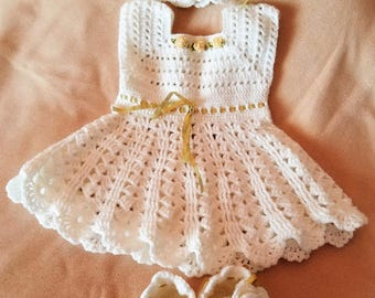 Handmade Baby Girl Crochet Dress, Head Band, and Booties Set with Beautiful Flowers