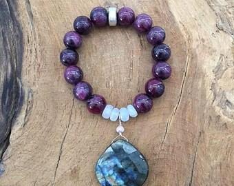 Genuine Ruby Bracelet   Labradorite Bracelet   Blue Lace Agate Bracelet   Mystic Sapphire   Gemstone Bracelet