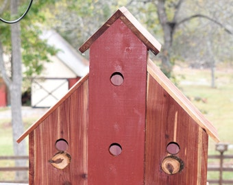 Extra Large Cedar Birdhouse - Multi-Family Red Barn Birdhouse - Rustic 4 in 1 Bird Condos Post Mount Fence Mount