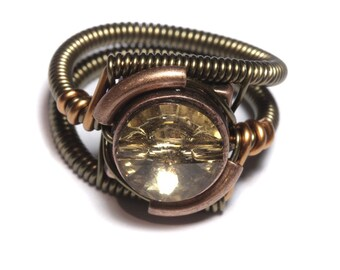 Steampunk Jewelry - RING - Colorado Topaz Svarovski Crystal