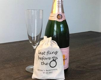 8 Bachelorette Party Favor, Hangover Kit, Survival Kit, Recovery Kit, Custom Bachelorette Party Bags - Last Fling Before the Ring