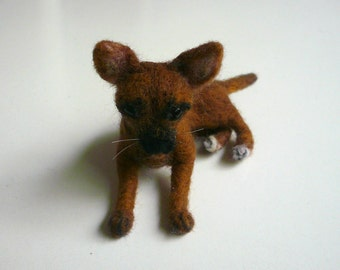 Needle felted chihuahua /Needle Felted Dog /OOAK Collectible artist soft sculpture / Custom Miniature Sculpture of your dog