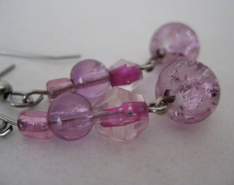 Pink Earrings Dangle Silver Pierced Wire Vintage