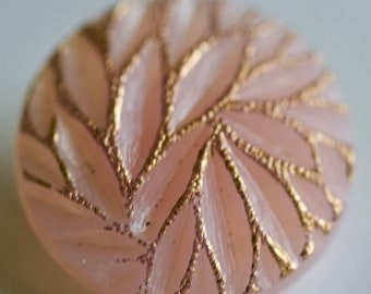 Pink Frosted Glass with Gold Luster