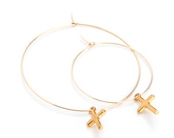 Large Shiny Cross Charm Hoops