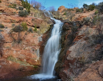 Faux Falls.  Waterfall in southwest landscape. Moab, Utah. Photograph.  Digital Download.