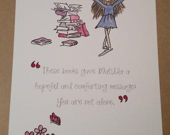 Pink A4 Matilda Quote and Watercolour Painting Roald Dahl Quentin Blake Hand Painted or A5/ 8x10 inch Arms Books Pile