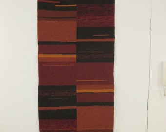 Hand woven rug or wall hanging - Pure Wool on wool warp
