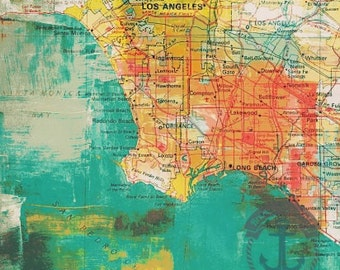 South Central Los Angeles | Coastal City Vintage Map | Product Options and Pricing via Dropdown Menu