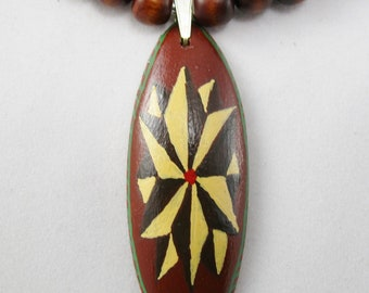 Wood Pendant on a Wood Beads Necklace