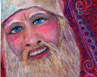 original art  aceo drawing Santa Claus Christmas zentangle