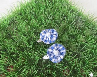 "Hair clips ""clic clac"" Navy Blue gingham flower"