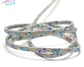 "1 m strap leather 5 x 2 mm, doubled ""Opal"", silver"